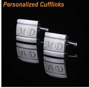 QiQiWu Nome Personalizado Abotoaduras Gravura Personalizada Metel Abotoaduras Casamento Abotoaduras Para Mens Jóias Com Caixa de Presente CL-003