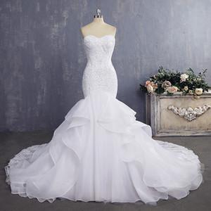 Elegante vestido de novia barato con volantes vestidos de novia de sirena sexy con vestido de novia de encaje de perlas de la vendimia 2019