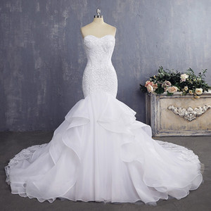 Elegant Cheap Bride Gown Ruffles Sexy Mermaid Wedding Dresses with Pearl Vintage Lace Wedding Dress 2019