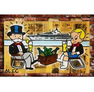 Alec Monopoly Peinture à l'huile sur toile mur Graffiti Art Décoration d'intérieur de haute qualité Cartoon Yacht multi decores de la G125