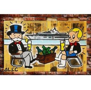 Graffiti multi Monopoly Pintura Handpainted alta Wall Decor Oil Início dos desenhos animados Alec G125 Art Canvas Yacht em tamanhos de Qualidade Jchsu