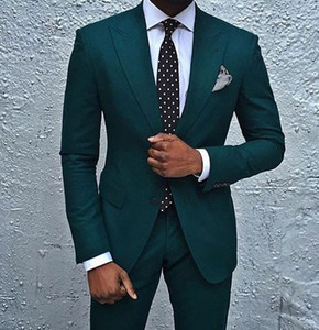 Dark Green Wedding Tuxedos Slim Fit Men's Business Suit Jacket + Pants Men's Suits Two Buttons Wedding Suits Groomsmen Tuxedos