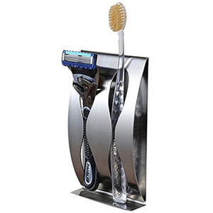 AKD Acero cepillo de dientes titular Razor organizador autoadhesivo montado en la pared de acero inoxidable Home Storage Storage Organización