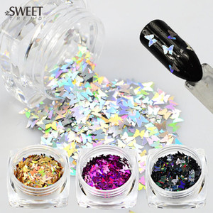 1 Bottiglie 3D Nail Art Glitter Colorful Laser Farfalle Paillettes Slice Tips Decorazione Nail FAI DA TE Manicure Tools LAHD01-05