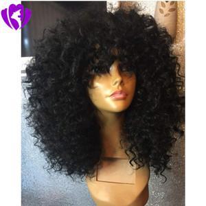 Натуральный черный афро кудрявый вьющиеся парики с челкой жаропрочных Gluelese короткие синтетические кружева перед парики с челкой для чернокожих женщин