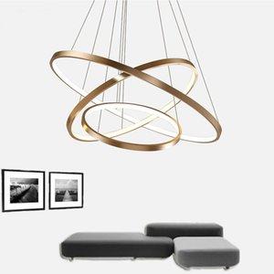 Fashional Dinning Room Modern Lustres Círculo Anéis Levou Luz Do Candelabro Para Iluminação Interior AC 85-260 V 40 CM 60 CM 80 CM 100 CM