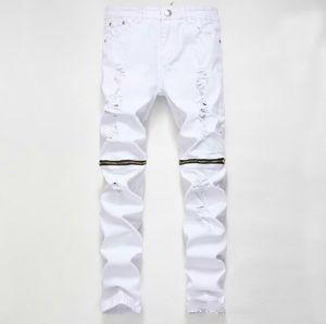 Hohe Qualität Marke Kleidung Designer Hosen Destroyed Mens Schlank Denim Shorts Gerade Biker Skinny Jeans Männer Hip Hop Zerrissene Jeans 28-38