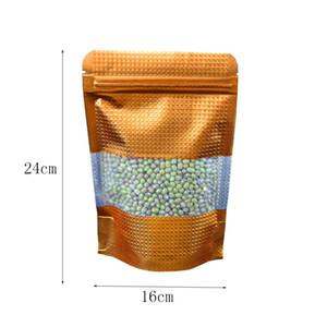 50Pcs / Lot 16 * 24 centimetri Serratura dell'oro Zip Heat Seal Doypack alluminio sacchetto dell'imballaggio con la radura finestra Stand Up Bulk Food Storage Mylar Zip sacchetti a chiusura