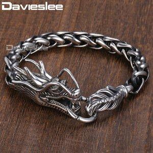 Davieslee Dragon Head pulsera para hombre macho pulsera de acero inoxidable 316L Wheat Link cadena punky joyería 9 mm 21.5cm DLHB450 Y1891709