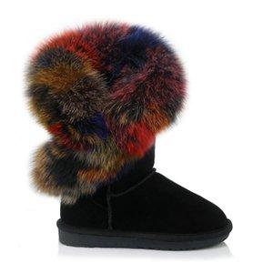 Inverno New Botas Mulheres Cabelo Nubuck Couro Botas Mujer Flats Mulheres Grosso Sole neve botas quentes senhoras Zapatos de mujer
