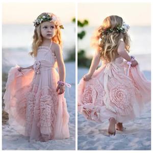 2018 Adorável Rosa Da Menina do Pageant Vestidos Para O Casamento Primavera Rendas Applique Ruffles Crianças Vestidos Formal Personalizado Long Beach Flower Girls '