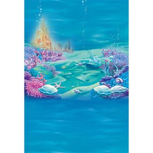 Под море фотографии фон синий морские водоросли морская звезда пузыри золотой Замок детские Русалочка день рождения фото стенд фон