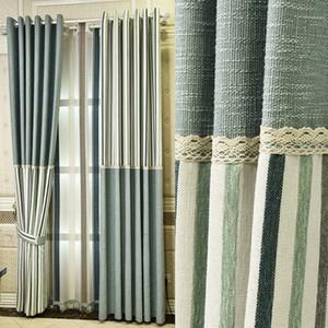 Cortina de janela de mistura de linho listrado azul marinho / cortina / painel / tratamento / cobrindo - Rod bolso painel - linho