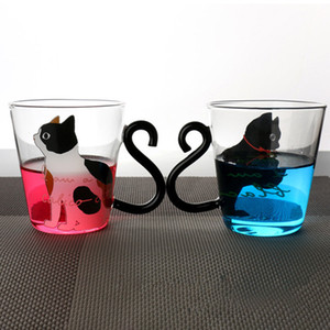 Cute Creative Cat Kitty Glass Mug Cup Tea Cup Milk Coffee Cups Music Dots English Words Home Office Cups HH7-903