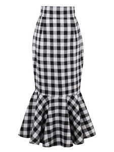 2018 Spring and Summer female temperament fishtail Slim Plaid and fiber material high waist short skirt FS5001