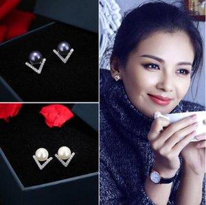 brincos agulha de jóias S925s de prata esterlina para mulheres V forma de pérolas graciosa atacado livre quente de moda de transporte