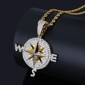 Glacé Out Compass Pendentif Collier Bling Cubic Zircon Chaînes Haute Qualité Hip Hop Or Argent Couleur Charme Bijoux Cadeaux