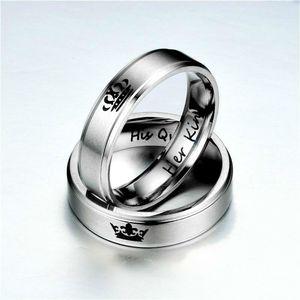 Vendita Her King His Queen Ring Lettera Anello in acciaio inox Anello a fascia Anelli paio per gli uomini Gli uomini Gli amanti regalo di nozze DROP SHIP