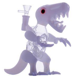 Dino vidrio Rig Dab Rigs Crafts Bongs Pipas de agua de cristal 14.4mm junta macho dinosaurio Blanco Forma de vidrio pelele de las ventas calientes
