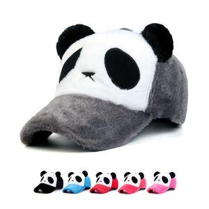 2018 Nueva moda Plush Man y weman Winter Keep gorra de béisbol de dibujos animados panda caliente camina al aire libre gorras sombrero al por mayor