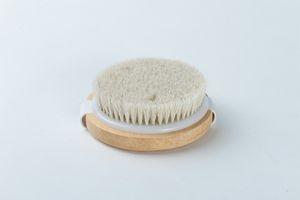 Pinceau rond naturel en crin de cheval sans poignée Brosses de douche pour le bain à la peau sèche SPA Massage Brosses de douche en bois