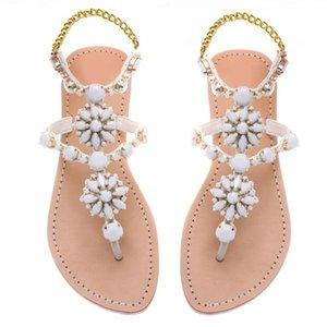2018 Nouvelle Arrivée Reinestone Décorés Brand New Mode Sandales plates pour femmes Chaussures d'été plus Taille de Lady Euro 34 ~ 47 Chaussures de plage tongs