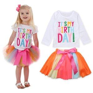 Baby Girls 복장 It 's My Birthday Children 선물 TuTu Shorts 스커트 소녀의 의류 세트 레이스 레인보우 드레스
