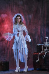 Corpse Bride Polyester Zombie Costume Halloween Dress Scary Party Clothes Masquerade Cosplay Festival Ropa Traje Hombre Mujer COS