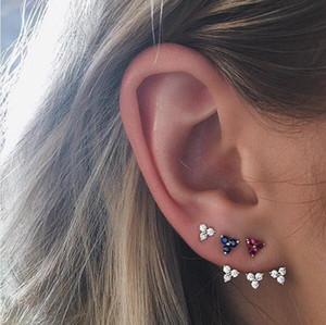 tre orecchini a triangolo in pietra cz con argento 925 piercing multi piercing verde rosso blu bianco 4 colori piccoli orecchini cz piccoli e carini
