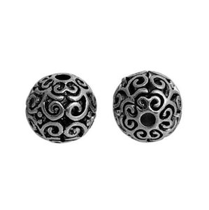 DoreenBeads Zinc Based Alloy Antique Silver Spacer Beads Round Filigree DIY Components About 12mm Dia, Hole: Approx 2.5mm, 5 PCs