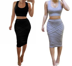 Sexy 2020 Two Piece Crop Top Night Out Club Bodycon Summer Maxi Outfit Midi Bandage Mini Evening Casual Dress