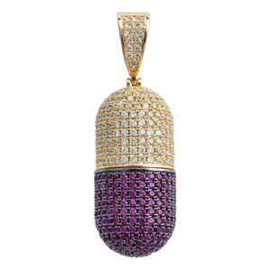 Hip Hop Iced Out Cubic Zircon Pill Necklace Puede abrir cápsulas Colgante Necklace Iced Out Detachab