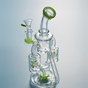 2019 Hot Sale Double Recycler Glass Bongs Propeller Percolater Water Pipe Colorful Mini Dab Rig Unique Design Oil Rigs With 14mm Bowl XL167