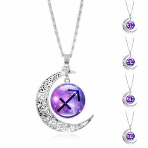 12 constellation temps Gem Pendent Collier en argent plaqué Half Moon Femmes Mode Costume Accessoires Bijoux Chaîne Longueur