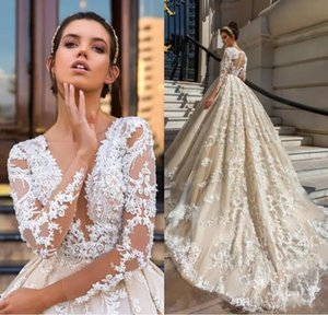2018 New Lace A Line Wedding Dresses Applique Luxury Long Sleeve V Neck Sexy Wedding Dresses Bridal Gowns