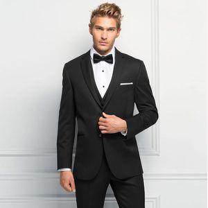 Black Men Suits for Wedding Business Prom Wear 3 Pieces (Jacket+Pants+Vest) Slim Fit Groom Tuxedos Best Man Blazer