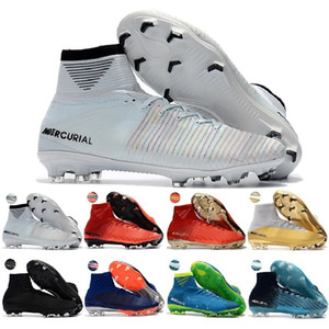 Os Recém-chegados 2018 Meias Ao Ar Livre Sapatos De Futebol Mercurial Superfly Ultra FG Botas De Futebol Mens meninos Chuteiras De Futebol Chuteiras 35-46