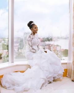 Langarm Boot-Ausschnitt Brautkleider Perlen Spitze Rüschen Organza Tiered Rock Meerjungfrau 2019 afrikanischen Brautkleid Custom Plus Size