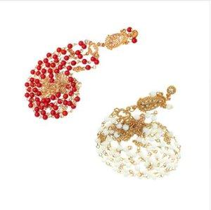 Cabelo Decoração Cabelo Banda Cabeça Vestido Moda Boho Indiano branco / vermelho Frisada Cabeça Peça Mulheres Cabeça Cadeia Do Cabelo Do Casamento Jóias