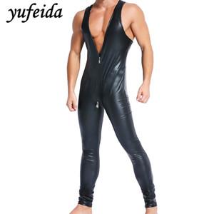Mens Jumpsuit lange Hosen ein Stück Bodysuit schwarz Kunstleder PU Wrestling Singlet Trikot Sleeveless Weste Unterwäsche