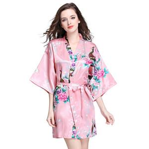 JULI'S SONG Frauen Faux Seide Robe Satin Hochzeit Braut Robe Große Größe Sexy Floral Bademantel Kurze Nachtwäsche Frauen Pyjamas Kimono
