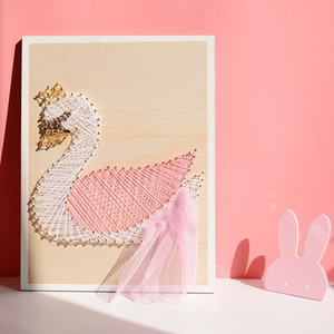 Wholesale 1 PCS Pink Winding Unicorn or Swan Wooden Hanging Picture Wall Sticker Children Room Decoration Free Shipping