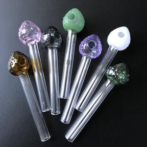 La forma única de fresa de cristal del aceite Burner Tubos de color pipa Mini Pyrex hornilla de aceite de pipas de cristal cuchara Pipe Dab accesorios de fumar