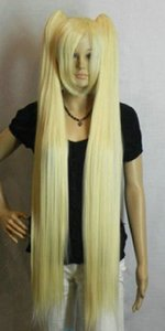 Parrucche Hatsune Miku Light Blonde 100cm Extra Lunghe Cosplay tipo Split