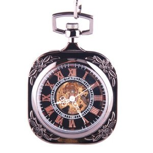 Pocket Watch Black Skeleton Mechanical Movement Hand Wind Roman Numerals Square Dial Steampunk PW-70