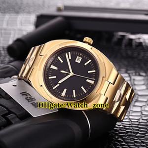 Yeni Sürüm Yurtdışı 4500 V / 110A-B127 Siyah Kadran Miyota 8215 Otomatik Mens Watch 18 k Sarı Altın Caes Çelik Bant Saatı
