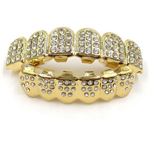 Ouro Grills Hip Hop Ouro ICED OUT CZ Diamantes Dentes Top Prata Hiphop Jóias Gold Dentes Grillz Rhinestone TopBottom Grills Set Shiny Dente