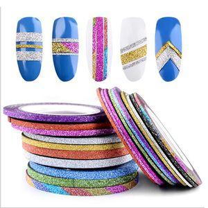 2018 Encantos 1 Rollo 1mm / 2mm / 3mm Glitter Nail Striping Line Line Para Uñas DIY Decoración Nail Art Stickers rollos Accesorios de Belleza