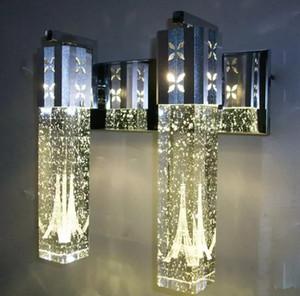 NOVA Moderna 6 W LED Bolha de Cristal Lâmpada de Parede Cilindro De Cristal Forma Coluna Sala de estar Lâmpada de Parede Espelho Luz RGB Quente Branco Lustre luz