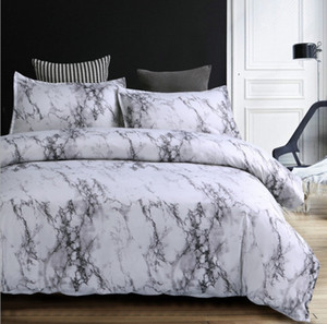 대리석 이불 커버 세트 성인을위한 현대 침구, 가역 흰색 회색 패턴, 면화 침구 컬렉션, Hypoallergeni
